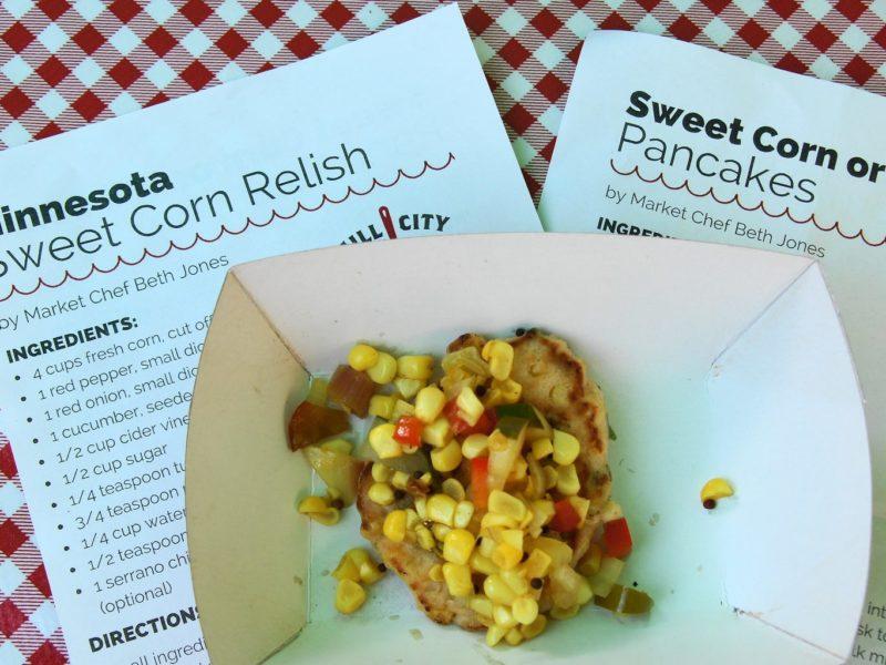 Sweet corn pancake with sweet corn relish