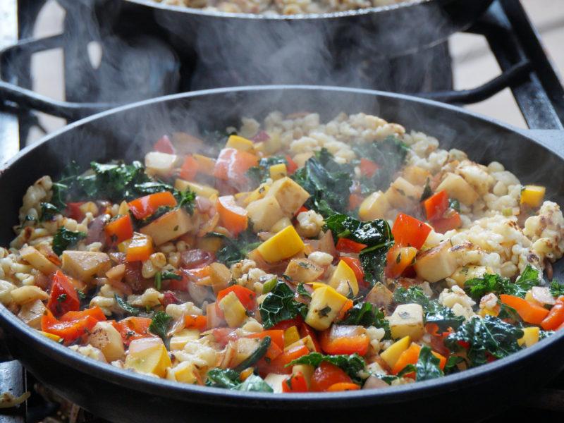 Fried Spätzle with veggies