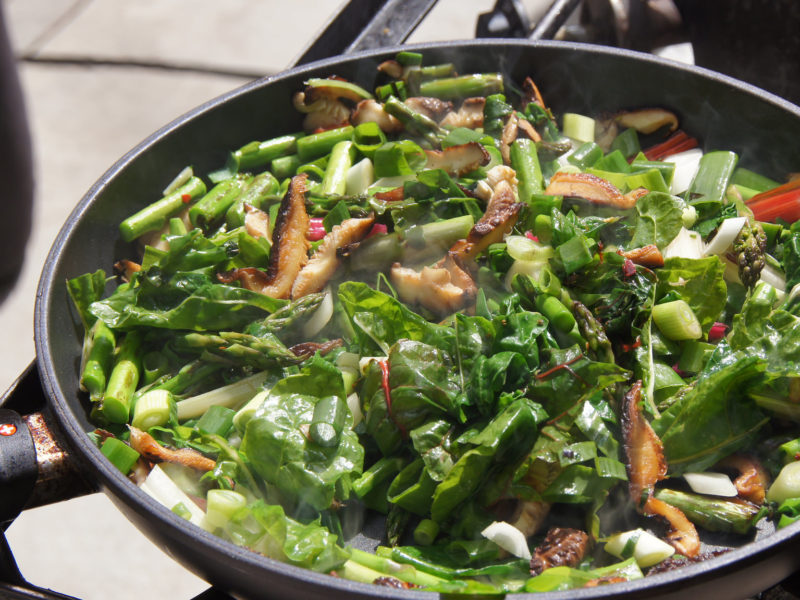 Mushroom, Greens, Asparagus Pasta