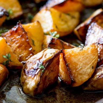 Maple Mustard Roasted Turnips and Rutabaga