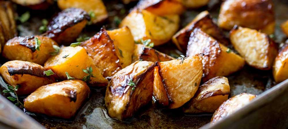 Maple Mustard Roasted Turnips and Rutabaga