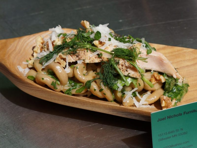 Seared Salmon cavatappi serving spoon