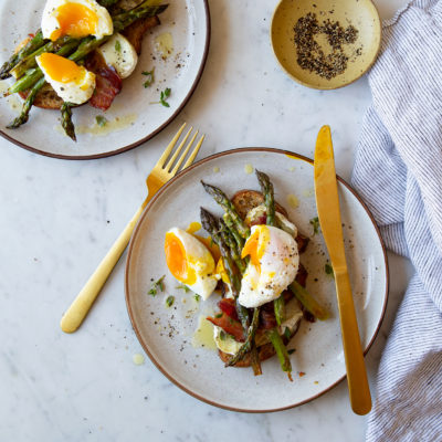 Bacon, Poached Egg, Asparagus and Morcella Toast