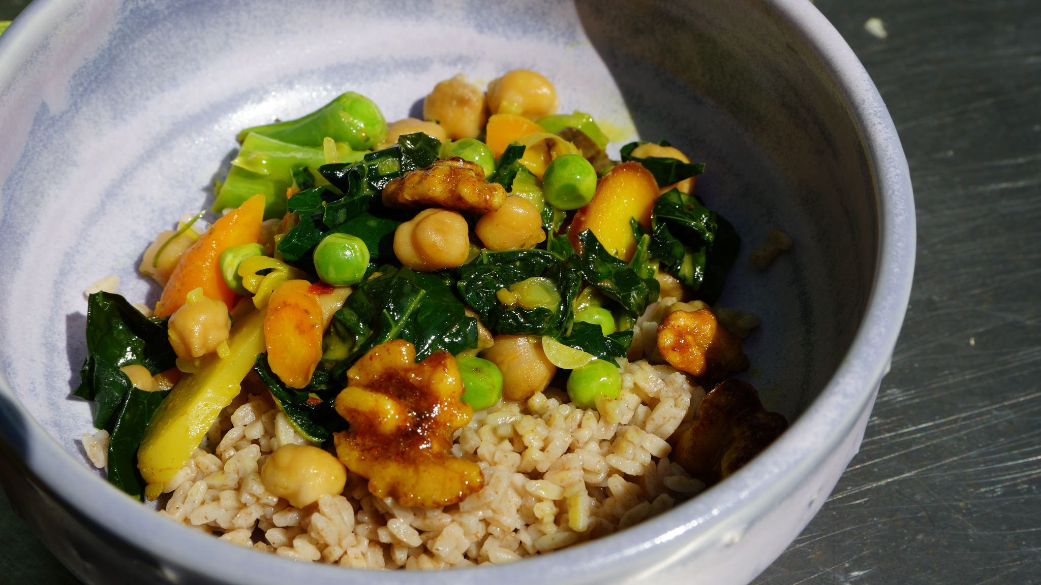 Chick Peas and Vegetable Curry in dish