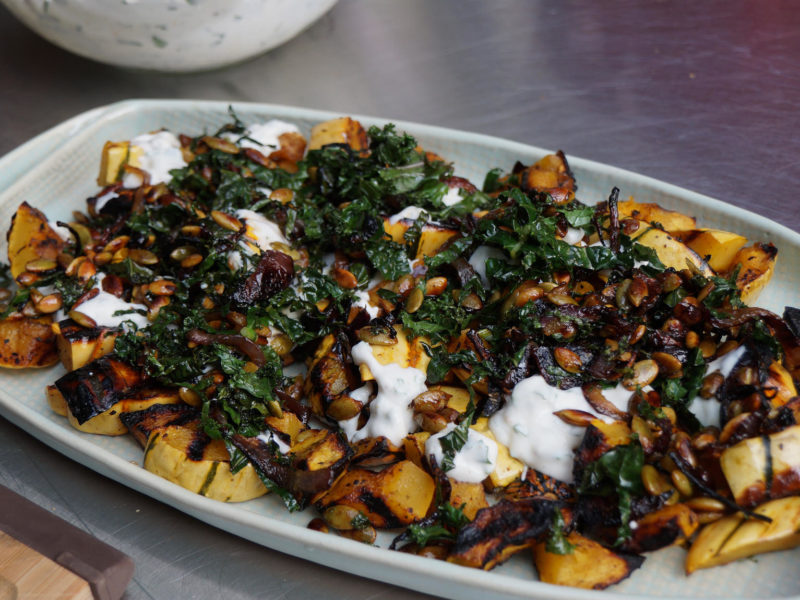 roasted delicata squash with spiced yogurt sauce