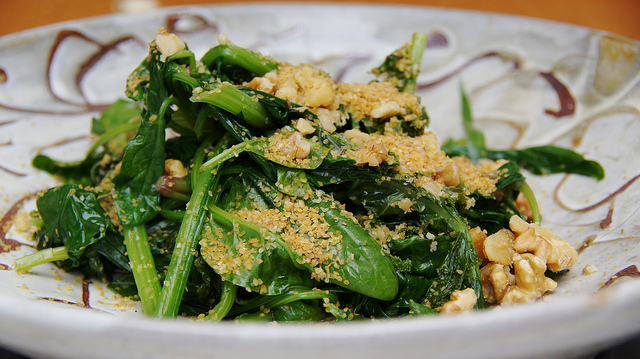 fresh greens spinach walnut stir fry